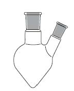 Taper Shape Flask, two necks, angled side neck, DIN 12383