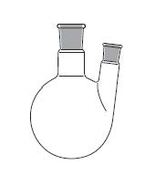 Round bottom flask, two necks, angled side neck, DIN 12394