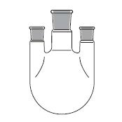 Round bottom flask, three necks, parallel side necks, DIN 12392 / ISO 1773